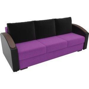 Диван ЛигаДиванов Монако slide микровельвет фиолетовый, подлкотники экокожа черные, подушки микровельвет черные - фото 2