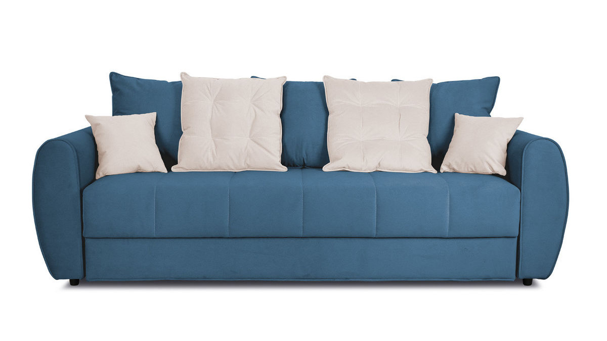 Диван ТриЯ «Бернард» (Beauty 07 (велюр), синий подушка Beauty 02 (велюр), капучино) - фото 2