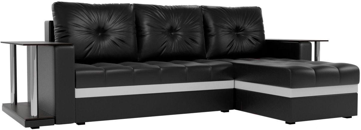 Диван Mebelico Атланта М правый 2 стола экокожа черный - фото 1