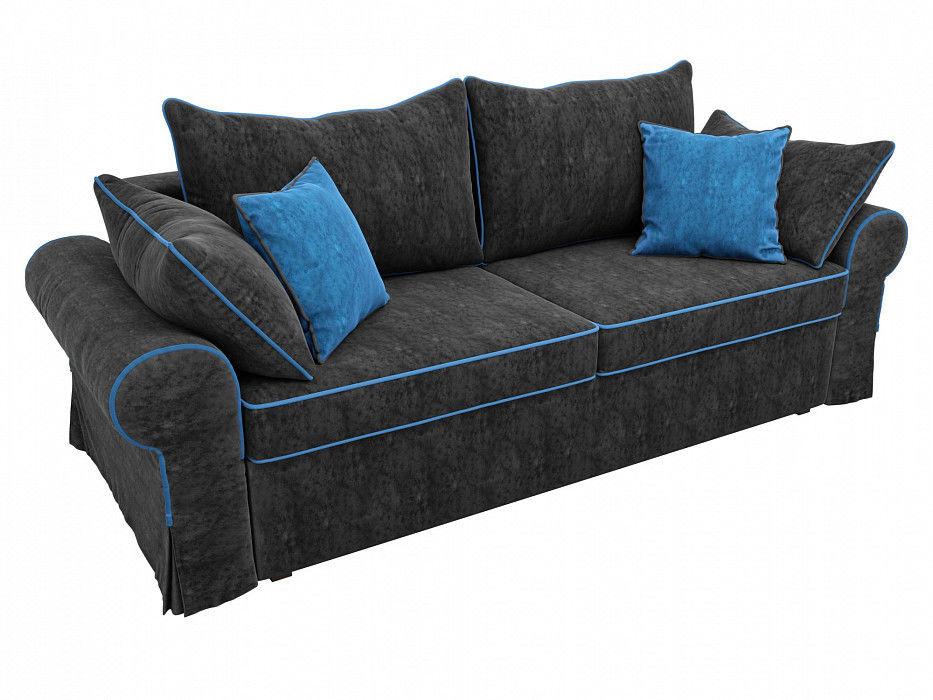 Диван Mebelico прямой Элис Велюр черный\голубой - фото 2