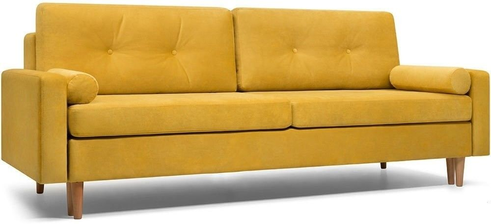 Диван Woodcraft прямой Динс Velvet Yellow - фото 1