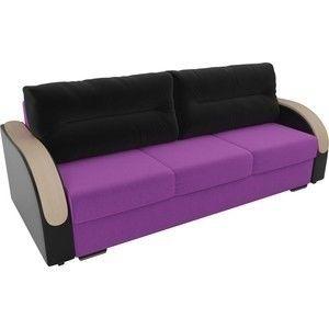 Диван ЛигаДиванов Дарси микровельвет фиолетовый, подлкотники экокожа черные, подушки микровельвет черные - фото 2