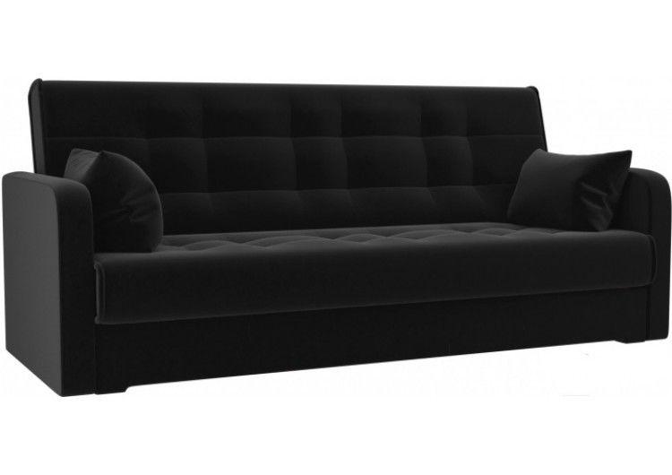 Диван Луховицкая мебельная фабрика Надежда (велюр черный) пружинный 140x180 - фото 1