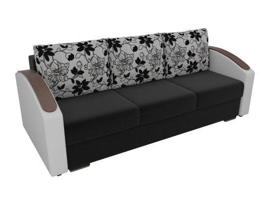 Диван ЛигаДиванов Монако Slide микровельвет черный/экокожа белый/рогожка на флоке - фото 2