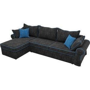 Диван ЛигаДиванов Элис 123 угловой левый 60654 велюр черный, голубые подушки - фото 2