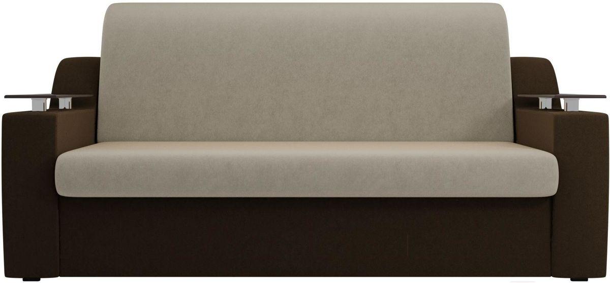 Диван Mebelico Сенатор 100709 160, микровельвет бежевый/коричневый - фото 1