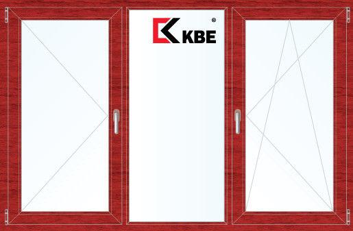 Окно ПВХ KBE 2060*1420 2К-СП, 5К-П, П+Г+П/О ламинированное (вишня) - фото 1