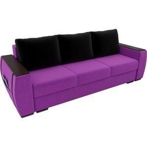 Диван ЛигаДиванов Брион микровельвет фиолетовый, подушки черные - фото 2
