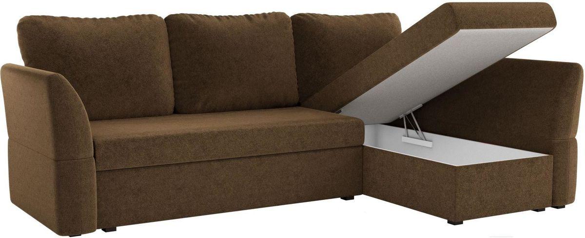 Диван Mebelico Гесен 100 правый 60060 микровельвет коричневый - фото 2
