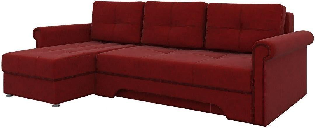 Диван Mebelico Гранд 491 левый 57912 вельвет красный - фото 4