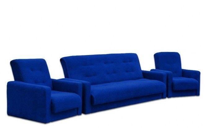 Набор мягкой мебели Луховицкая мебельная фабрика Милан Астра синий (диван+2 кресла) 140x190 - фото 1