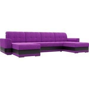 Диван ЛигаДиванов Честер п-образный вельвет фиолетовый вставка экокожа черная - фото 1