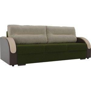 Диван ЛигаДиванов Дарси микровельвет зеленый подлокотники экокожа коричневые подушки микровельвет бежевый - фото 1