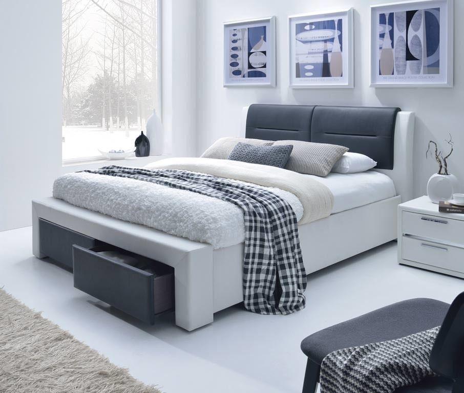 Кровать Halmar Cassandra S 140 (бело-черный) - фото 1