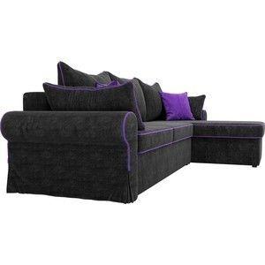 Диван ЛигаДиванов Элис 123 угловой правый 60655 велюр черный, фиолетовые подушки - фото 4