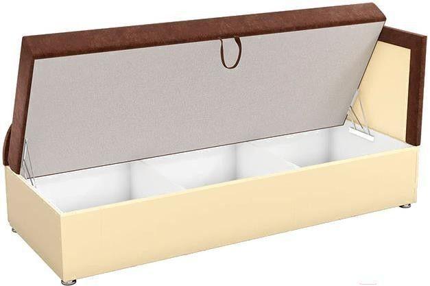Диван Mebelico Дюна 4 микровельвет коричневый/экокожа бежевый - фото 2