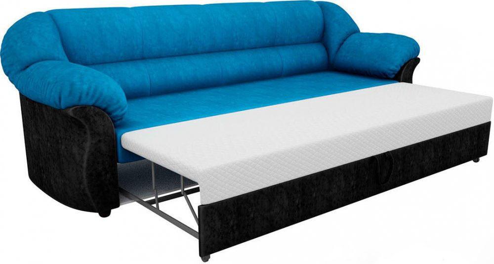 Диван ЛигаДиванов Карнелла 114 60404 велюр голубой/черный - фото 2