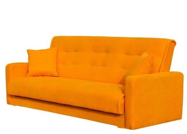 Диван Луховицкая мебельная фабрика Милан (Астра оранжевый) пружинный 140x190 - фото 1