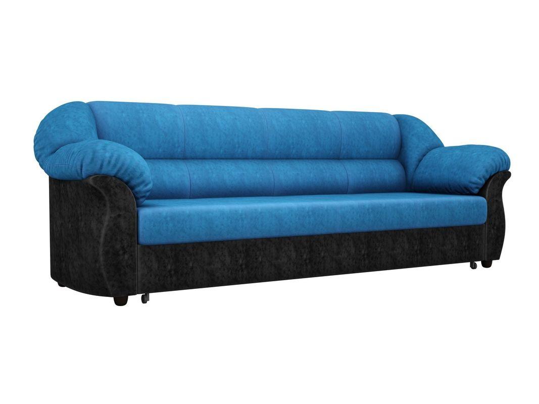 Диван ЛигаДиванов Карнелла 114 60403 велюр голубой/экокожа черный - фото 1