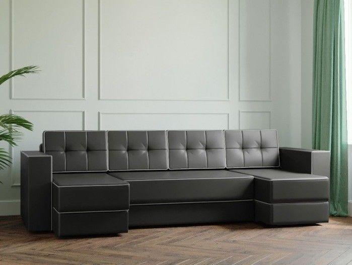 Диван Настоящая мебель Ванкувер Модерн (модель: 00-00000048) экокожа/ чёрный - фото 1
