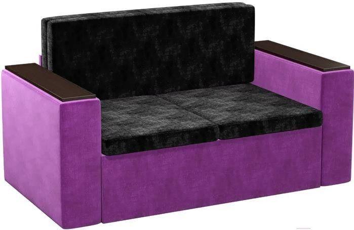Диван Mebelico Арси 2 микровельвет черный/фиолетовый - фото 1
