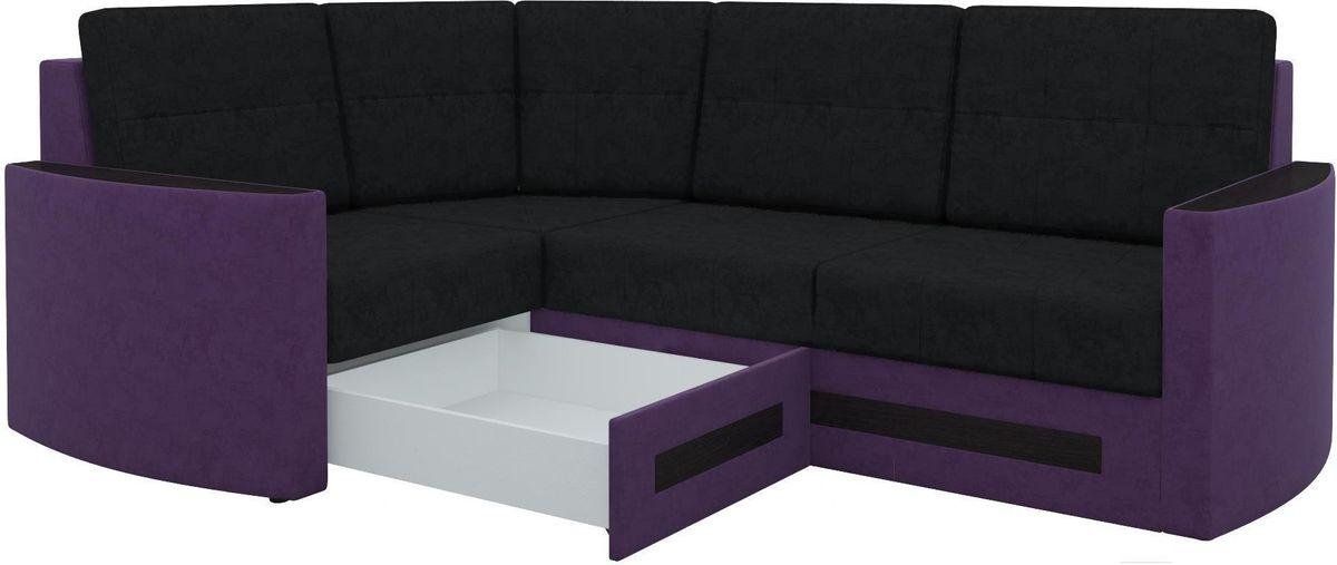 Диван Mebelico Белла У 476 угловой левый вельвет черный/фиолетовый - фото 2