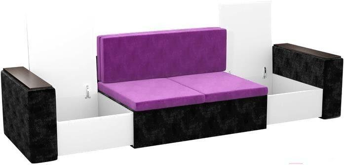 Диван Mebelico Арси 2 микровельвет черный/фиолетовый - фото 5