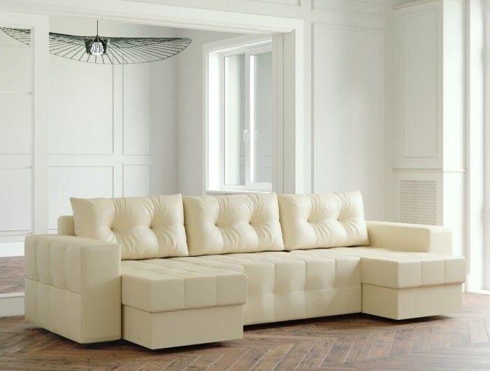 Диван Настоящая мебель Ванкувер Мейсон (модель: 00-00000060) экокожа/бежевый - фото 1