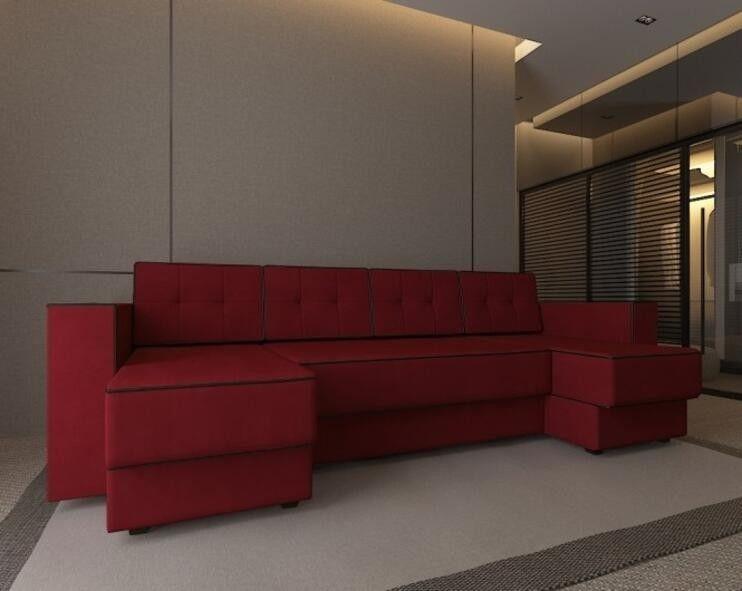 Диван Craftmebel Принстон П-образный красный вельвет - фото 1