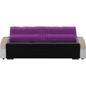 Диван ЛигаДиванов Дарси микровельвет черный, подлоктники экокожа белые, подушки микровельвет фиолетовые - фото 3