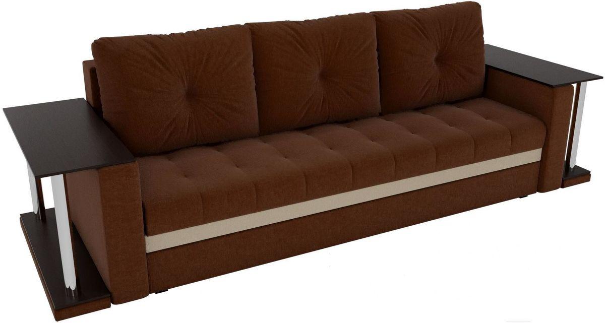 Диван Mebelico Атланта М 2 стола рогожка коричневый - фото 3