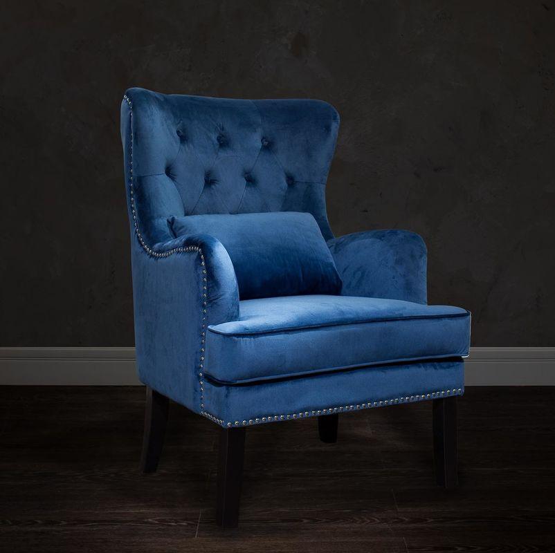 Кресло Garda Decor 24YJ-7004-06466/1 (велюровое синее с подушкой) - фото 5