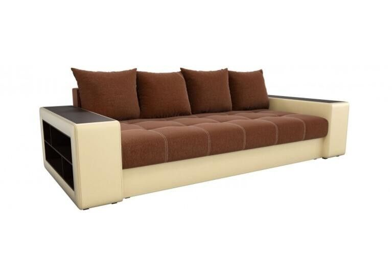 Диван Craftmebel прямой Дубай коричневая рогожка/бежевая экокожа - фото 1