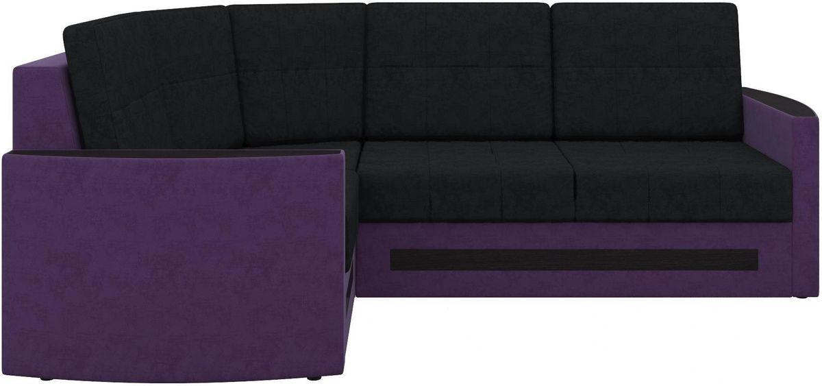 Диван Mebelico Белла У 476 угловой левый вельвет черный/фиолетовый - фото 3
