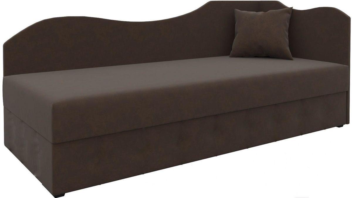 Диван Mebelico 74 правый микровельвет коричневый - фото 1