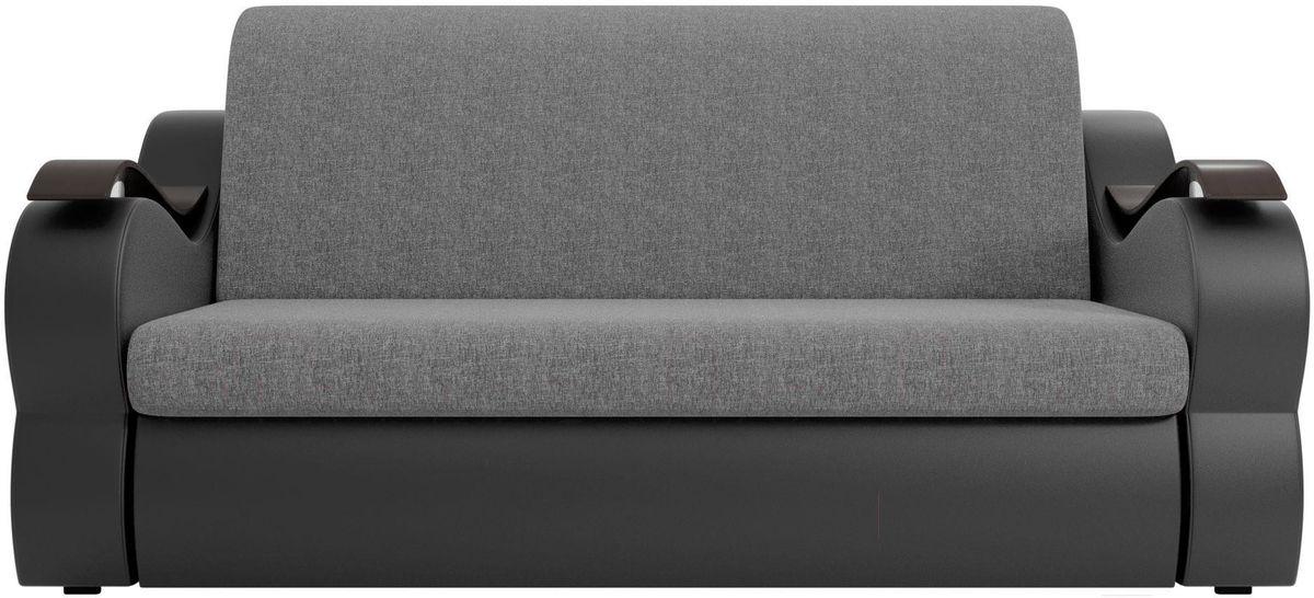 Диван Mebelico Меркурий 222 100, рогожка серый/экокожа черный - фото 1