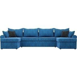 Диван ЛигаДиванов Элис П 124 60663 велюр голубой черные подушки - фото 3