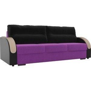 Диван ЛигаДиванов Дарси микровельвет фиолетовый, подлкотники экокожа черные, подушки микровельвет черные - фото 1