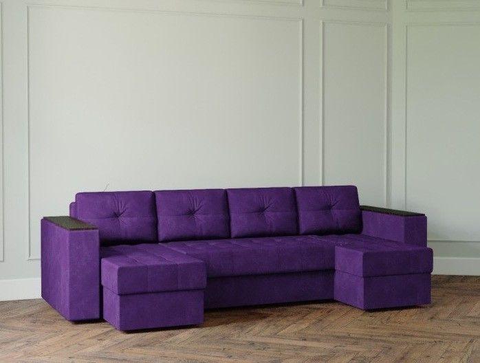 Диван Настоящая мебель Ванкувер Лайт с декором (модель: 9999) фиолетовый - фото 1