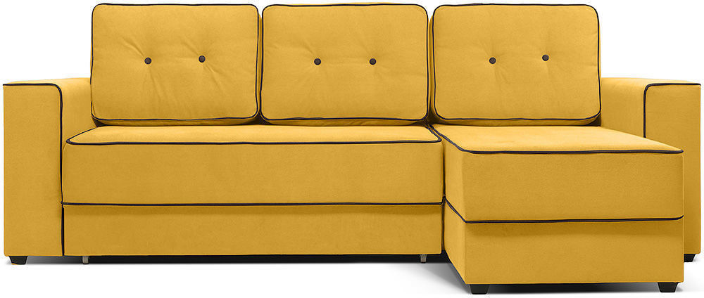 Диван Woodcraft Менли Velvet угловой НПБ холлофайбер Yellow - фото 1