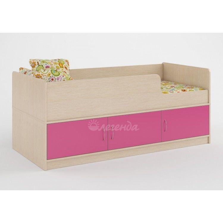 Детская кровать Легенда 35 (венге светлый+розовый) - фото 1
