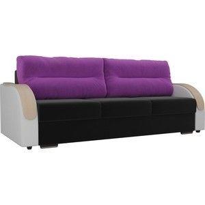 Диван ЛигаДиванов Дарси микровельвет черный, подлоктники экокожа белые, подушки микровельвет фиолетовые - фото 1