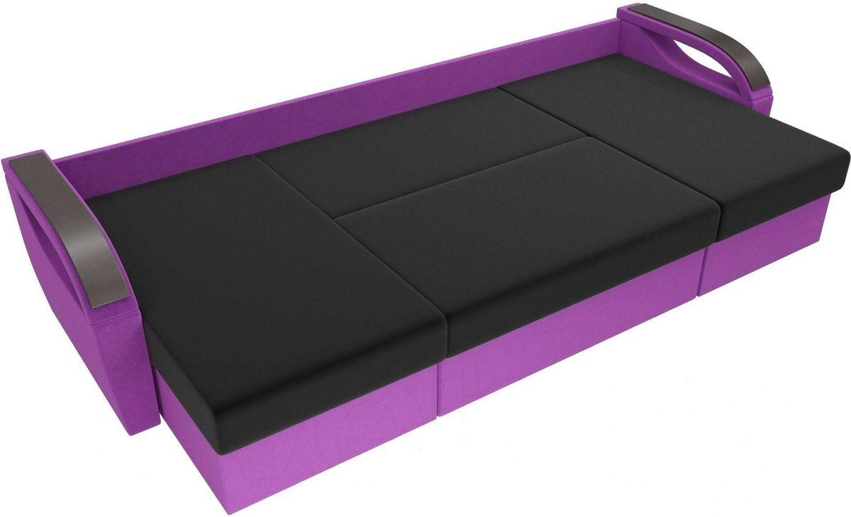 Диван ЛигаДиванов Mebelico Форсайт микровельвет фиолетовый/черный - фото 6