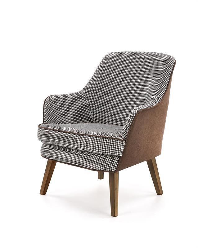 Кресло Halmar TELAVIV (черно-белый/коричневый/орех) V-PL-TELAVIV-FOT - фото 2