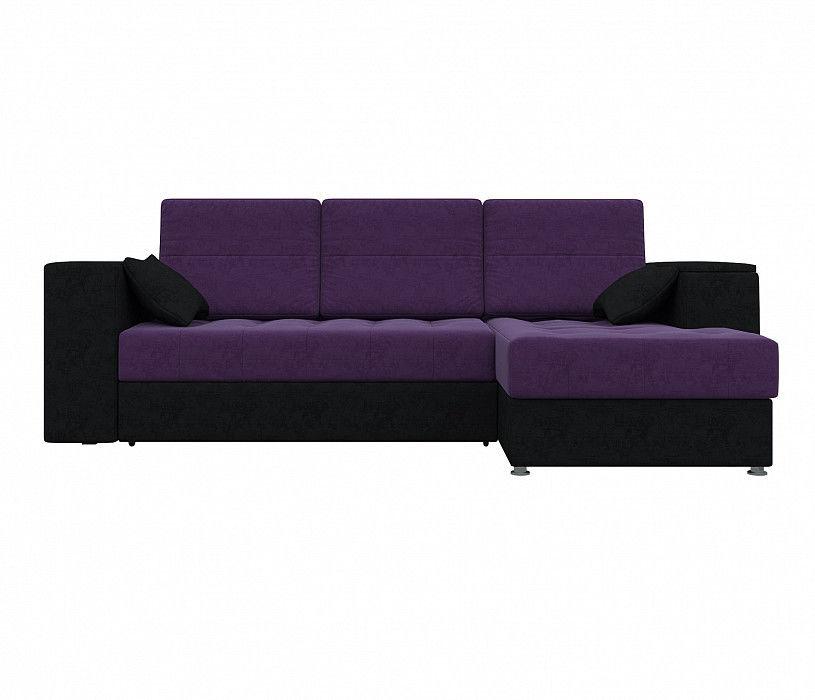 Диван Mebelico Атлантис Угловой Микровельвет фиолетовый\черный - фото 2