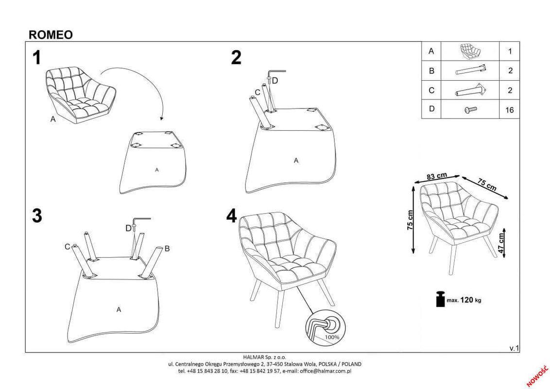 Кресло Halmar ROMEO (серый/натуральный) V-CH-ROMEO-FOT-POPIEL - фото 2