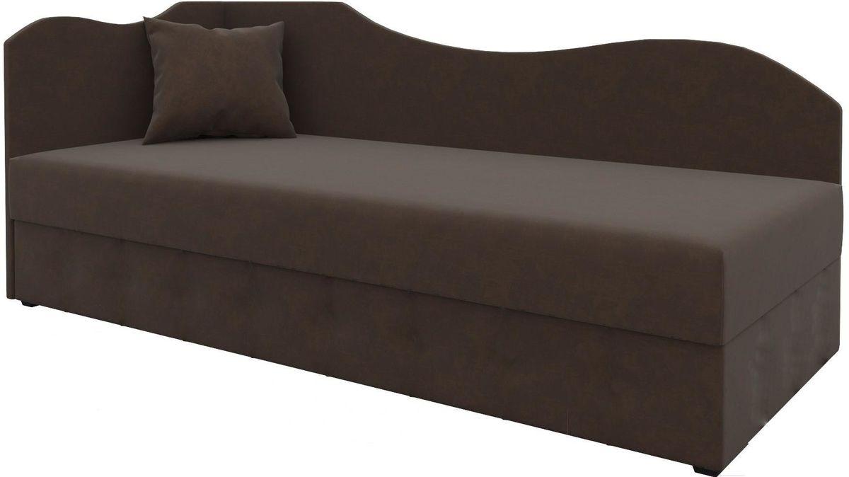 Диван Mebelico 74 левый микровельвет коричневый - фото 1