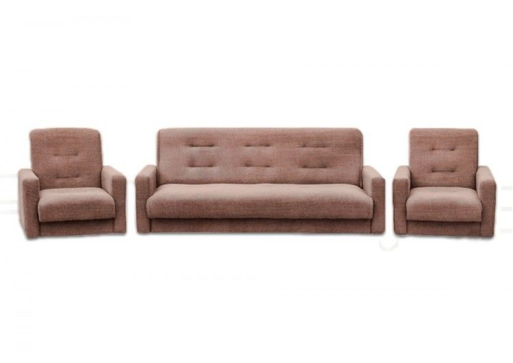 Набор мягкой мебели Луховицкая мебельная фабрика Лондон коричневая рогожка 120х190 (диван + 2 кресла) - фото 1