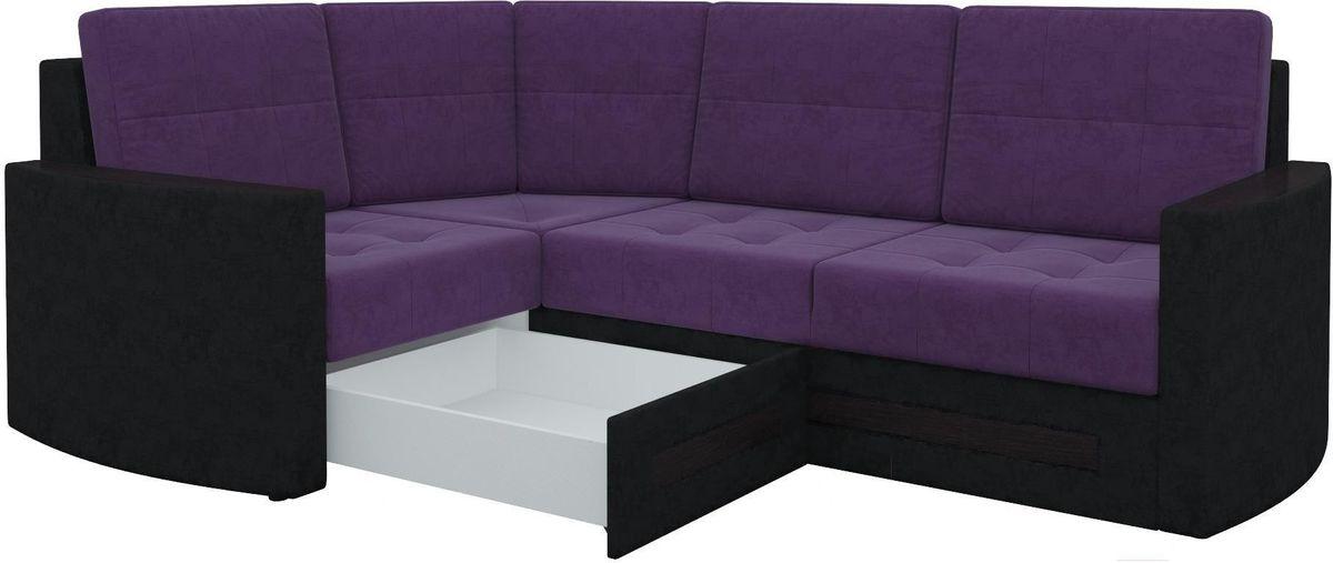 Диван Mebelico Белла У 476 угловой левый вельвет черный/фиолетовый - фото 6