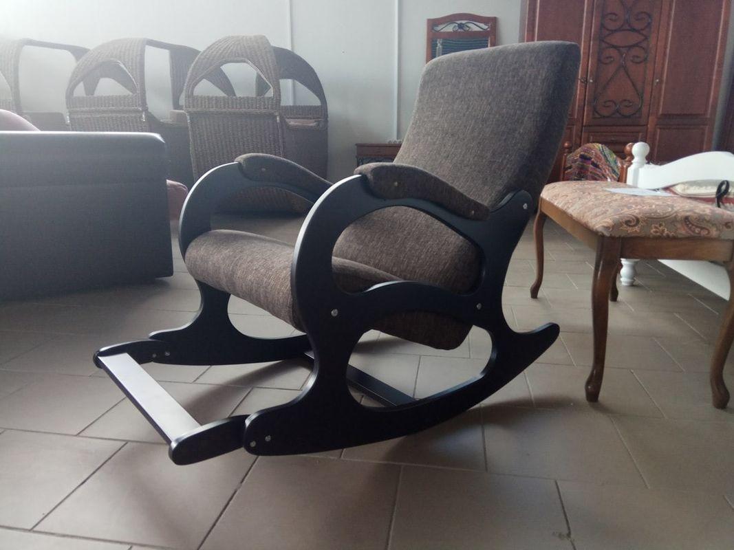 Кресло Бастион 4-2 с подножкой рогожка темная - фото 3